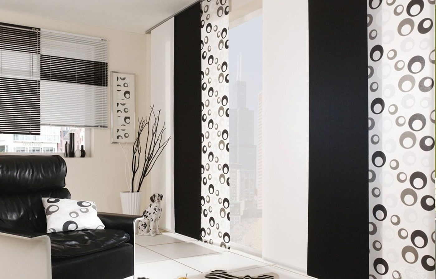 Черно-белые японские шторы