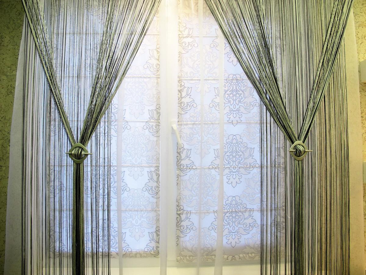 Зеленые шторы кисея