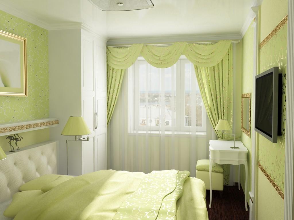 Спальня в зеленом цвете в хрущевке