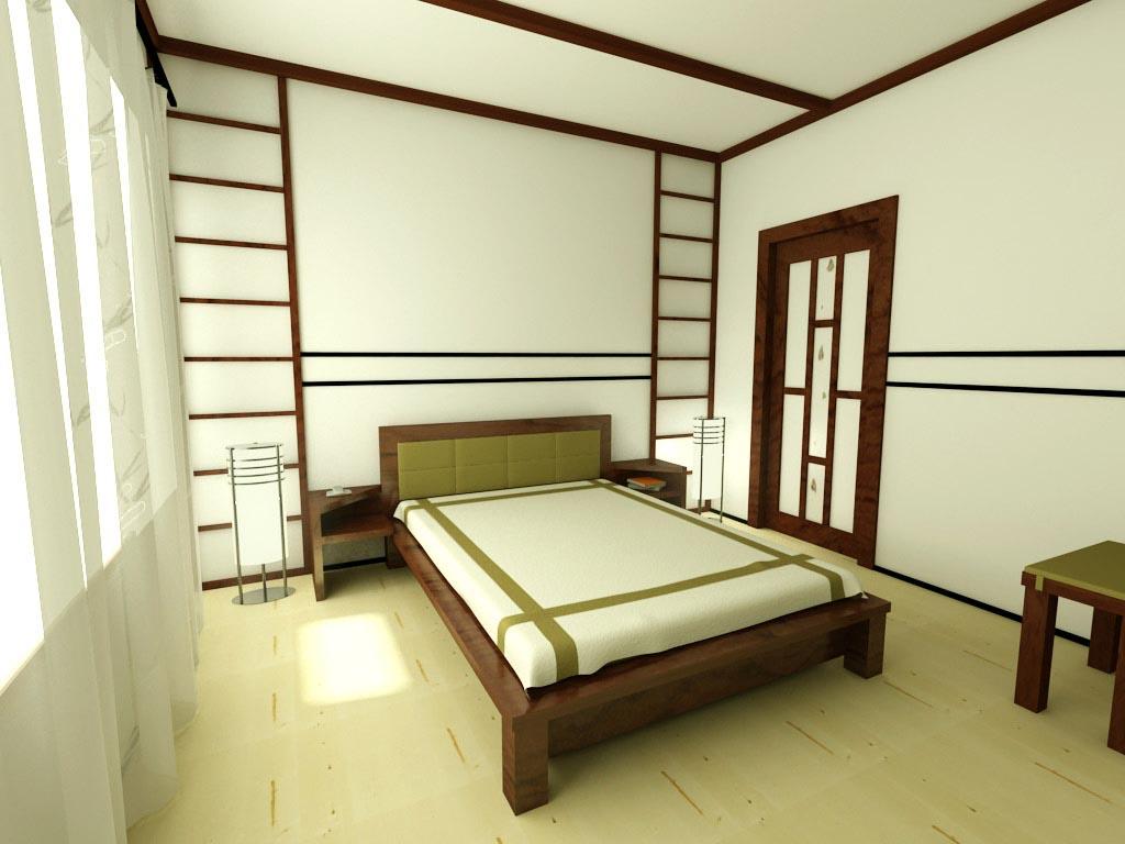 Зеленый цвет в японской спальне