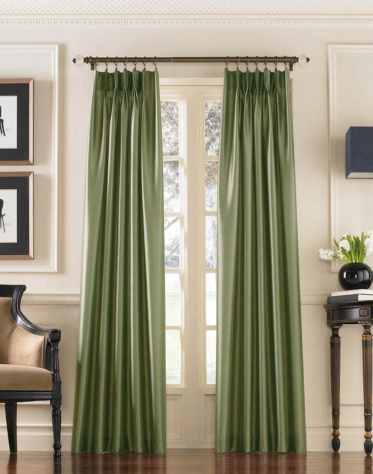 Узкие зеленые шторы