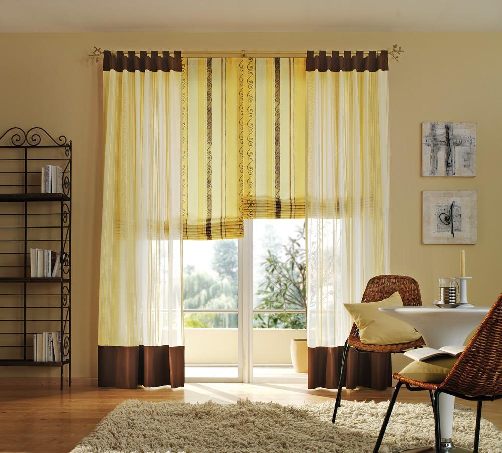 Желтые шторы из вуали