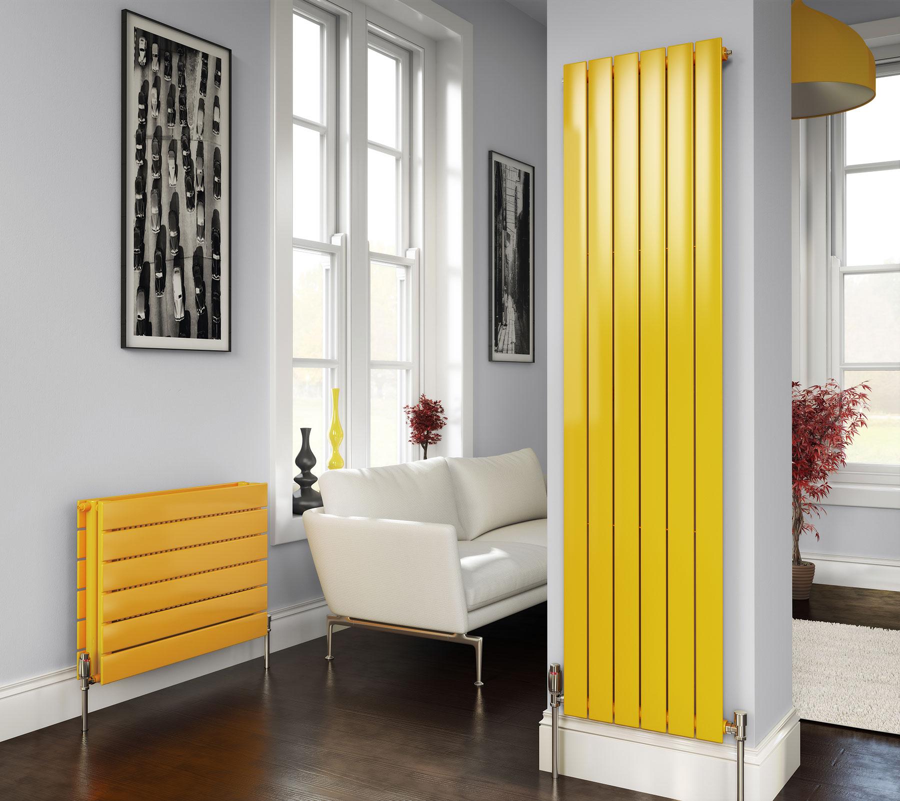 Вертикальный радиатор желтого цвета