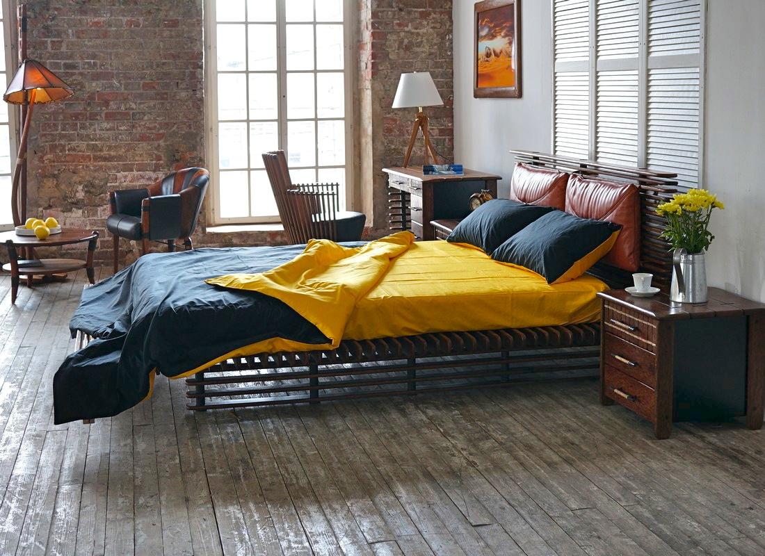 Дизайн кровати в стиле лофт