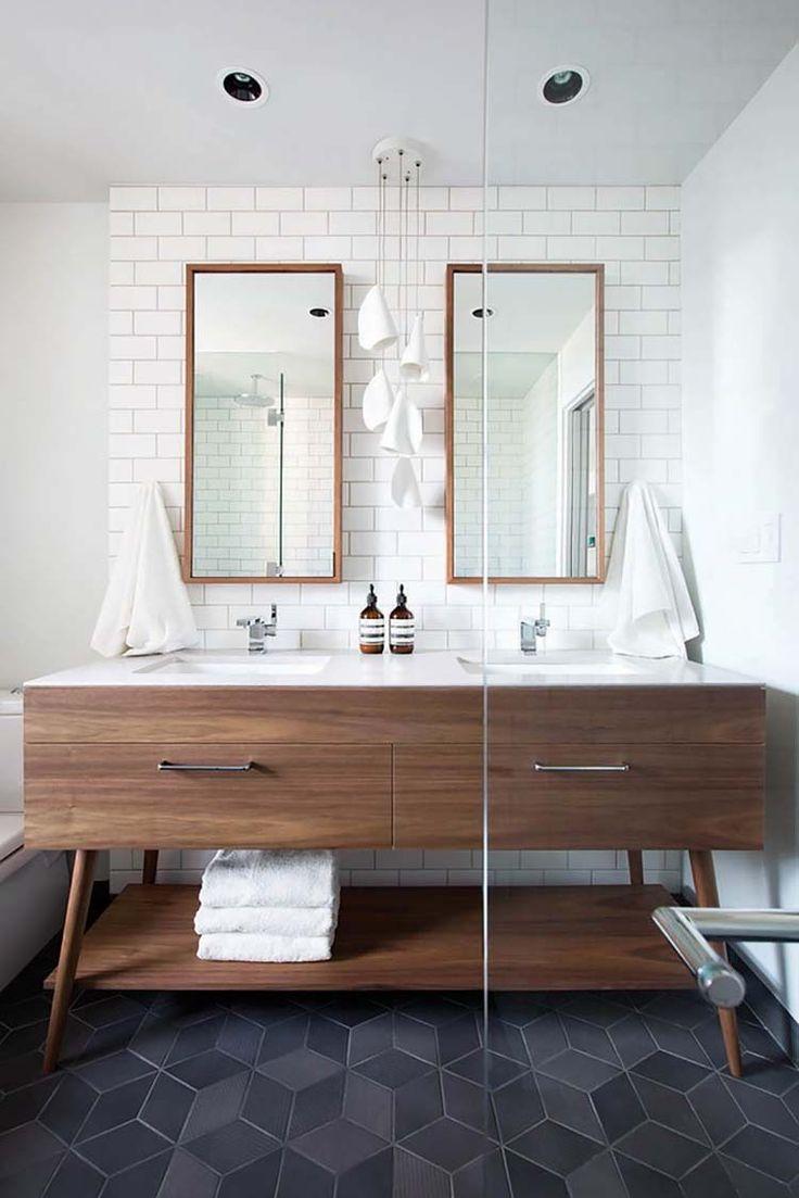 Геометрическая плитка в ванной