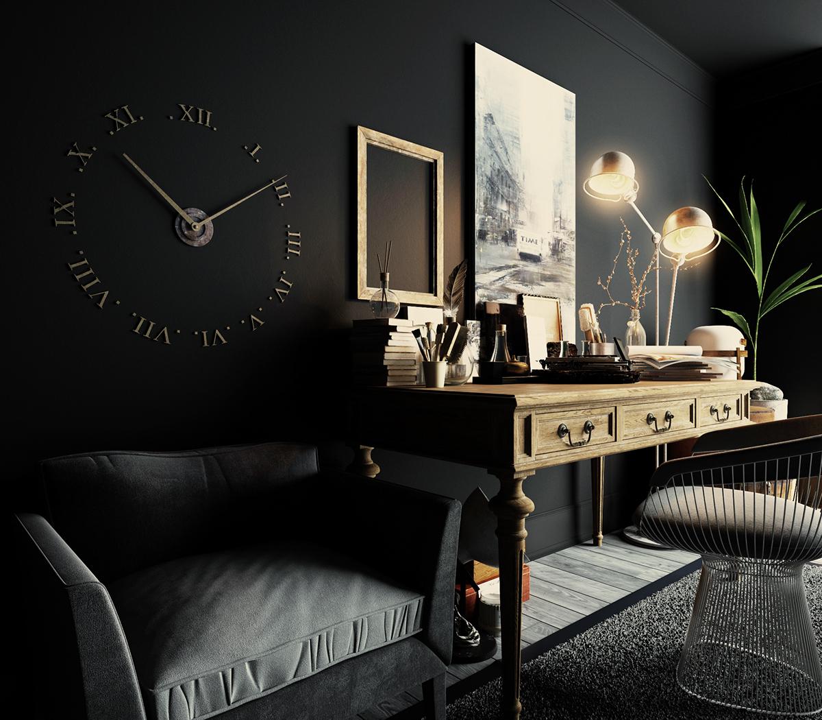 Темный интерьер кабинета