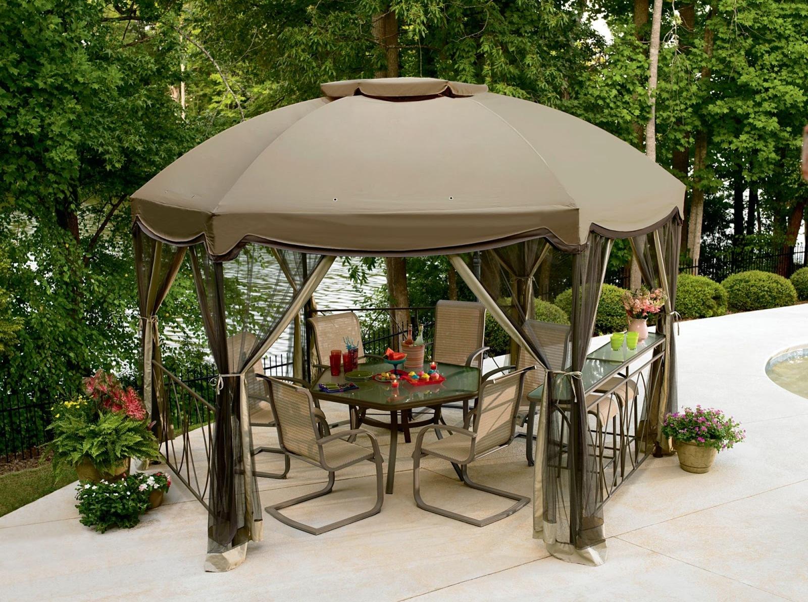 Коричневый садовый шатер