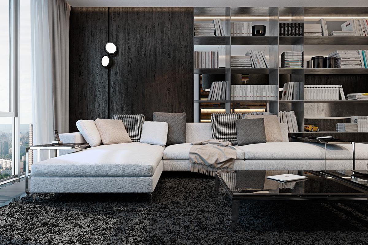 Темный интерьер с ковром