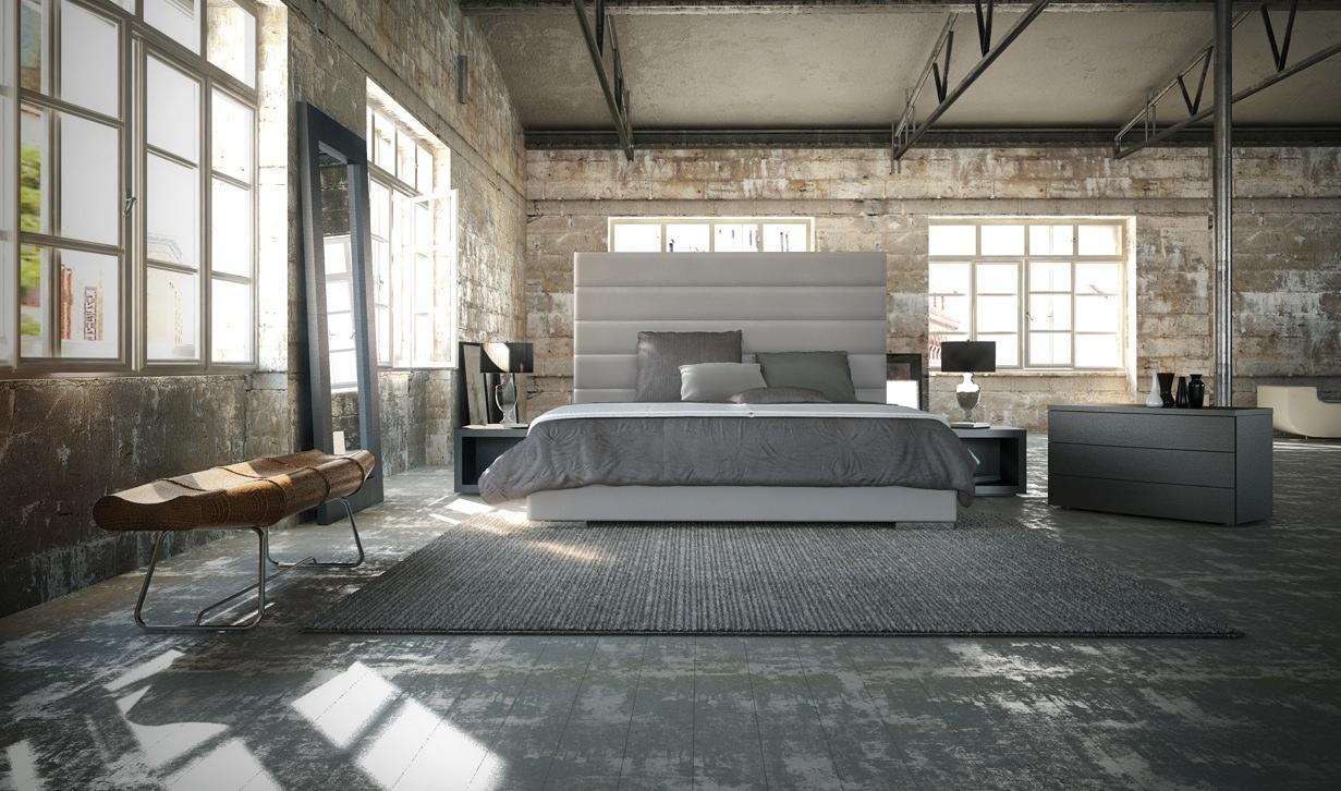 Кровать кожаная в стиле лофт