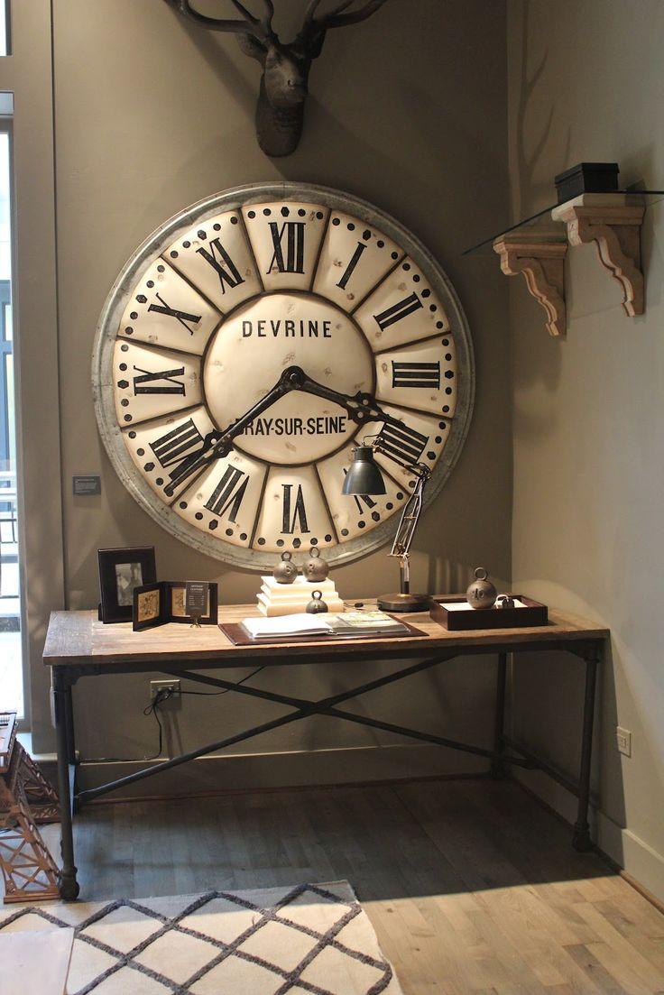 Настенные часы в гостиной в стиле лофт