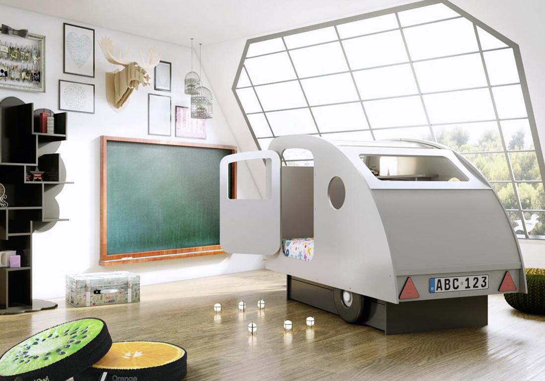 Детская в стиле лофт с кроватью машинкой