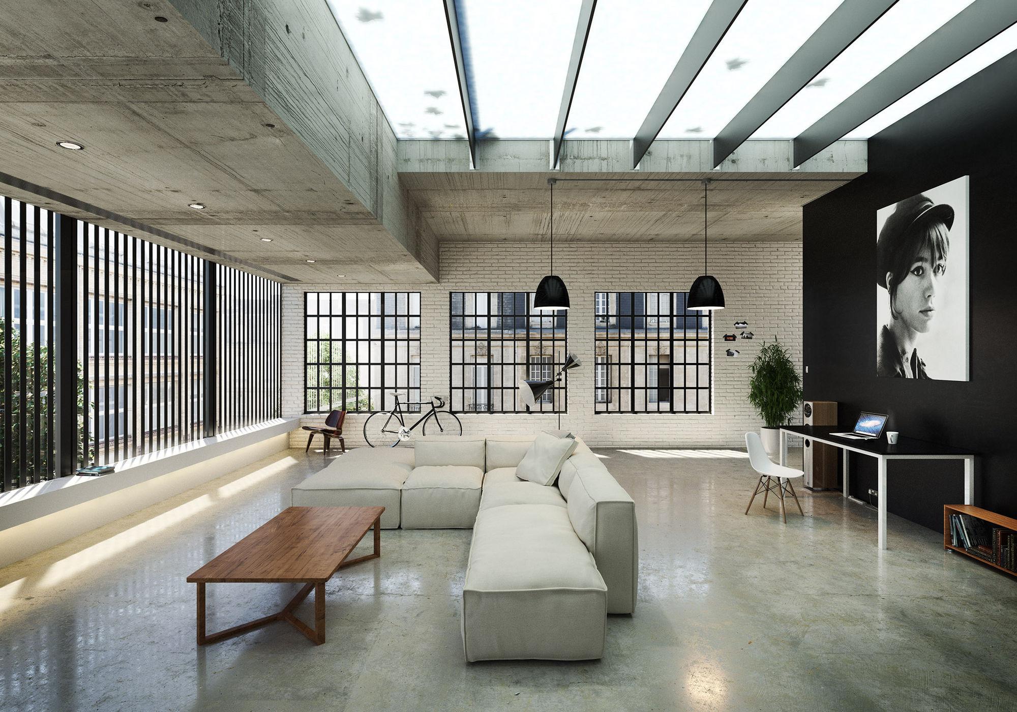 Монохромный лофт дизайн квартиры студии