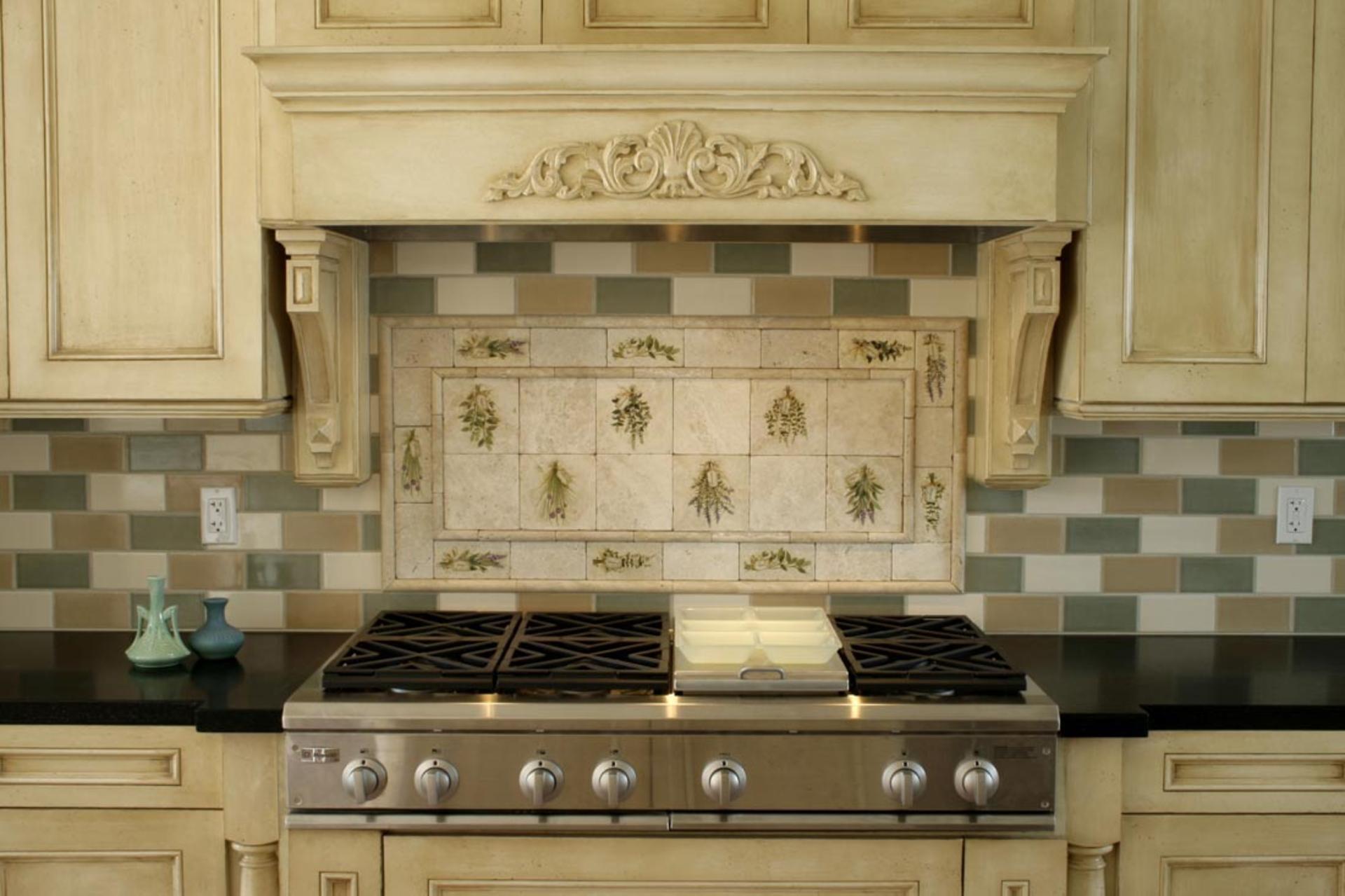 Плитка оливкового цвета в стиле прованс