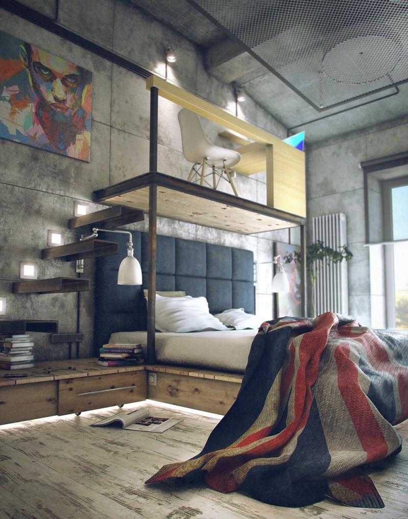 Кровать на подиуме в стиле лофт