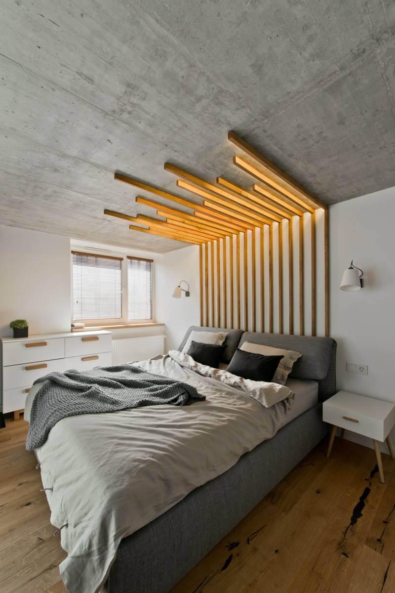 Кровать серая в стиле лофт