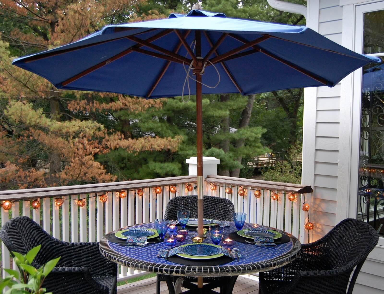 Садовый зонт синий