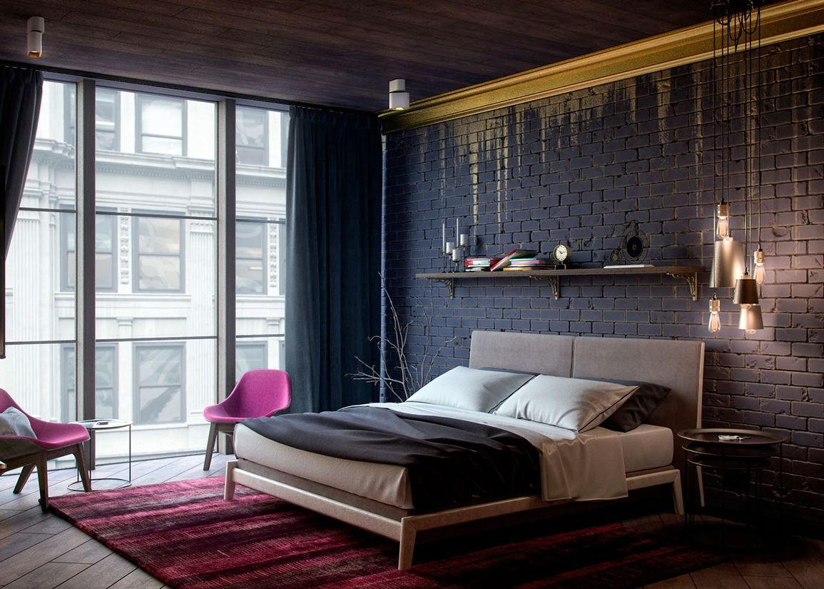 Кровать в спальне в стиле лофт