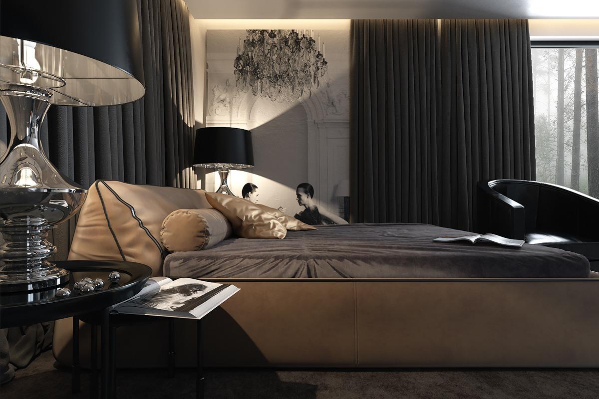 Темный интерьер в спальне