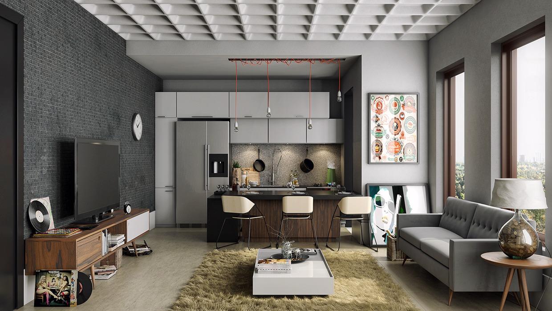 Темный интерьер квартиры студии