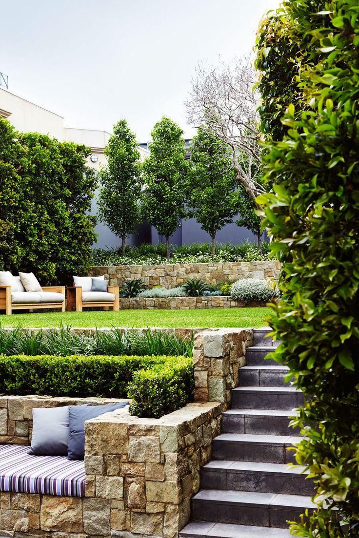 Ландшафтный дизайн сада с двумя уровнями