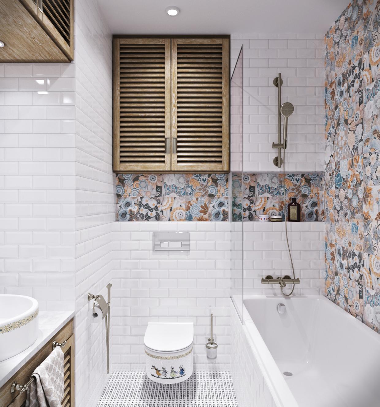 Плитка в ванной в стиле прованс