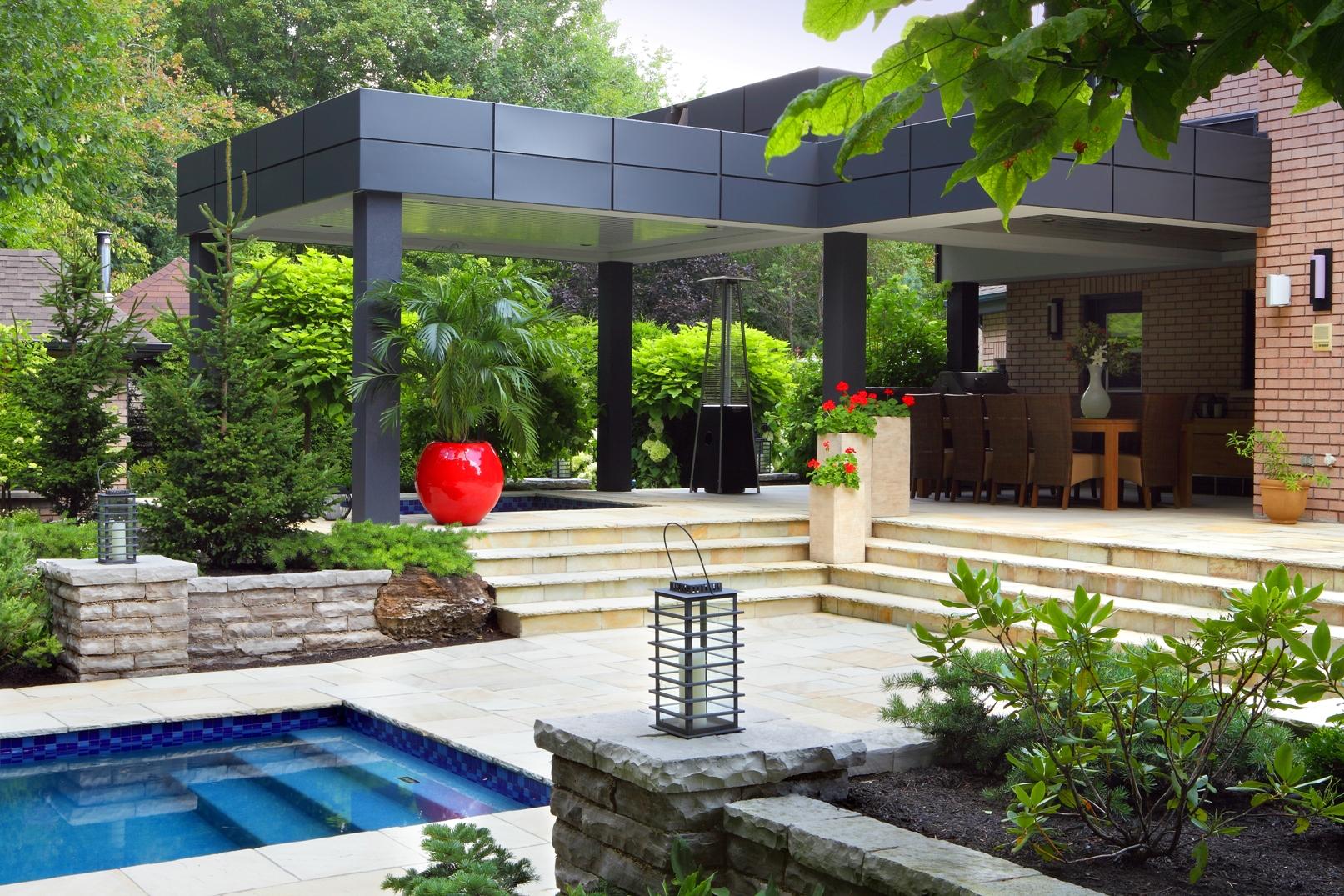 Ландшафтный дизайн сада с верандой