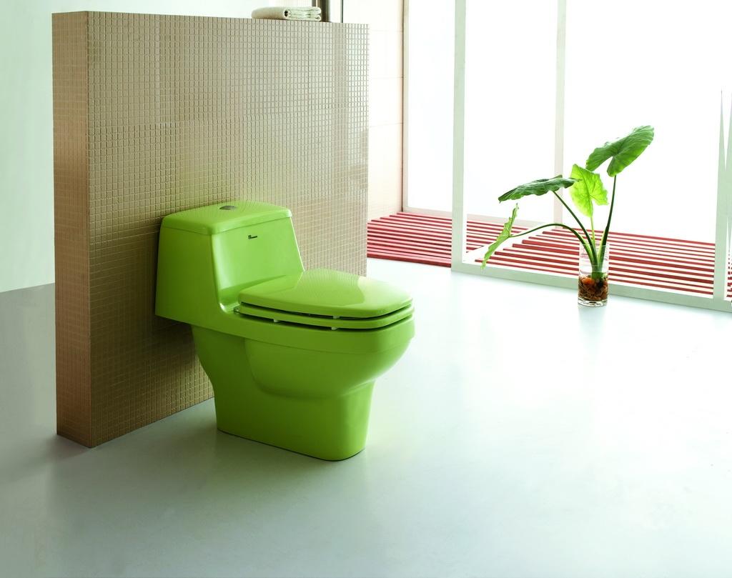 Цветной унитаз зеленый
