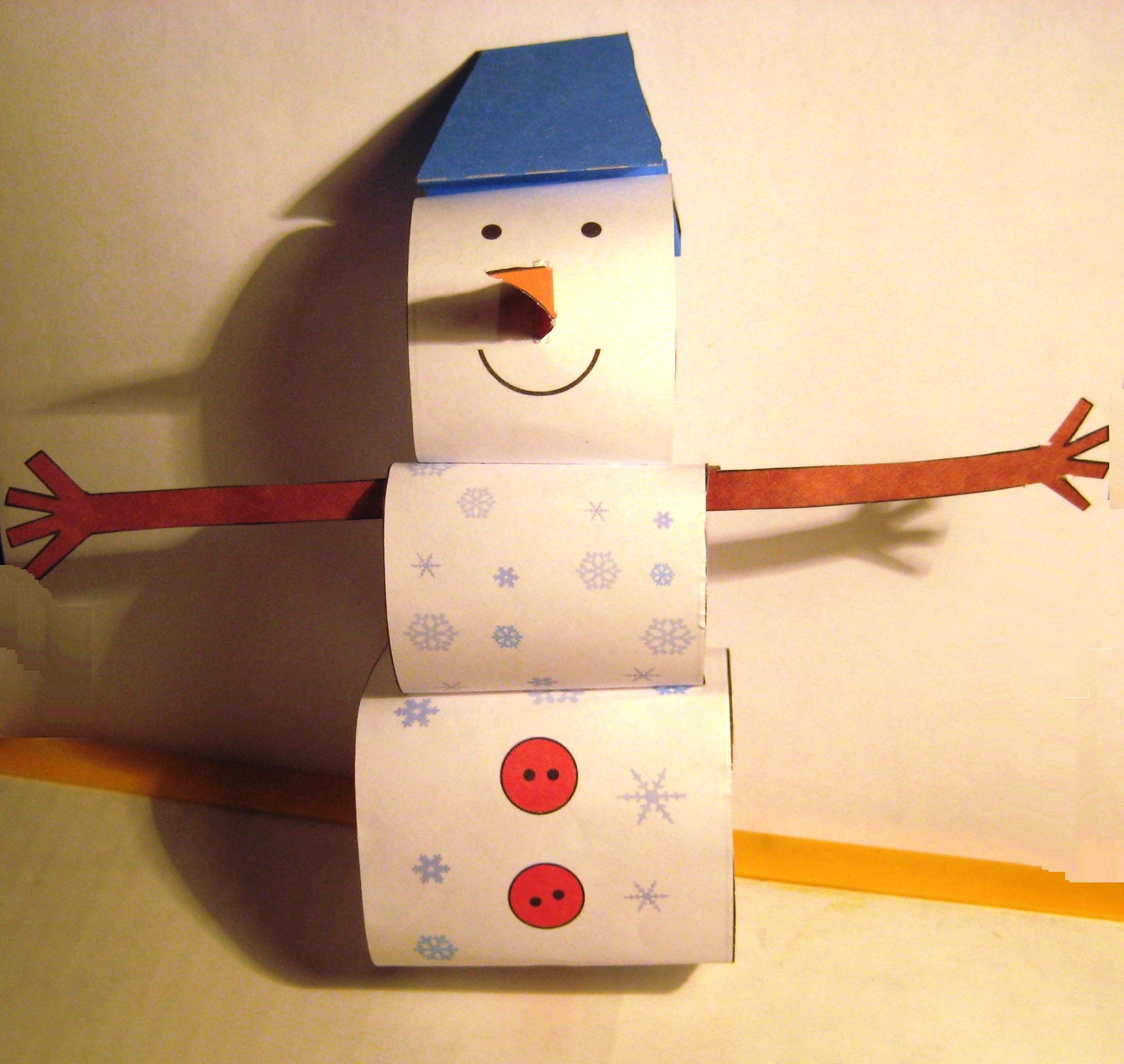 Снеговик из картона