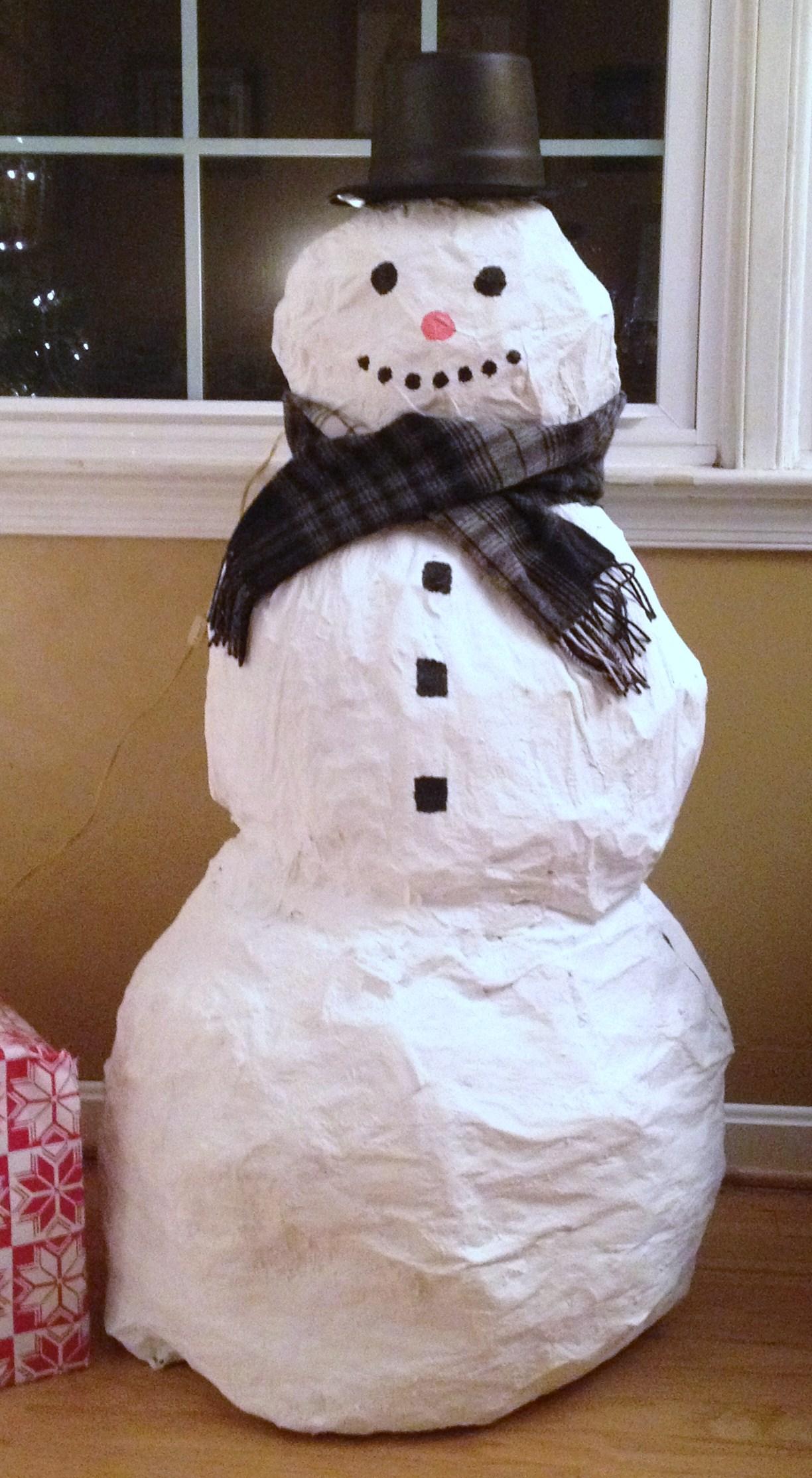 Снеговик папье-маше