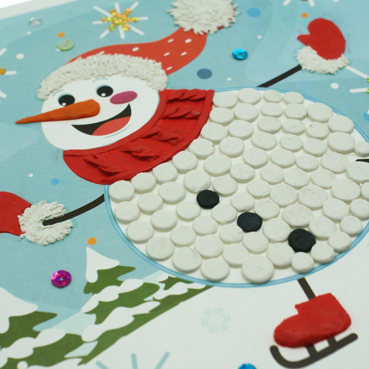 Снеговик из бумаги и пластилина