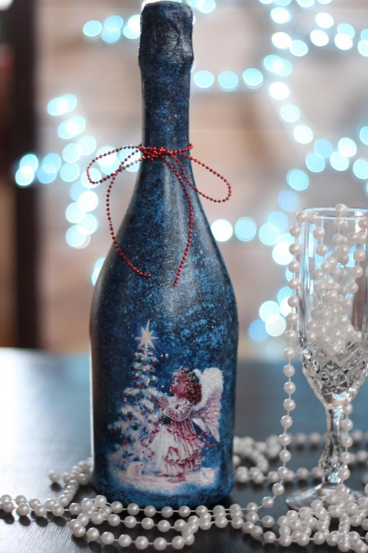 Декупаж Бутылки Шампанского на Новый Год Своими Руками, Как Обклеить Игристое Вино Салфетками, Как Сделать Декор Для Начинающих