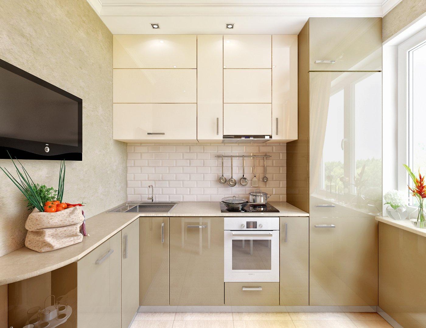 Бежевая кухня 6 кв м