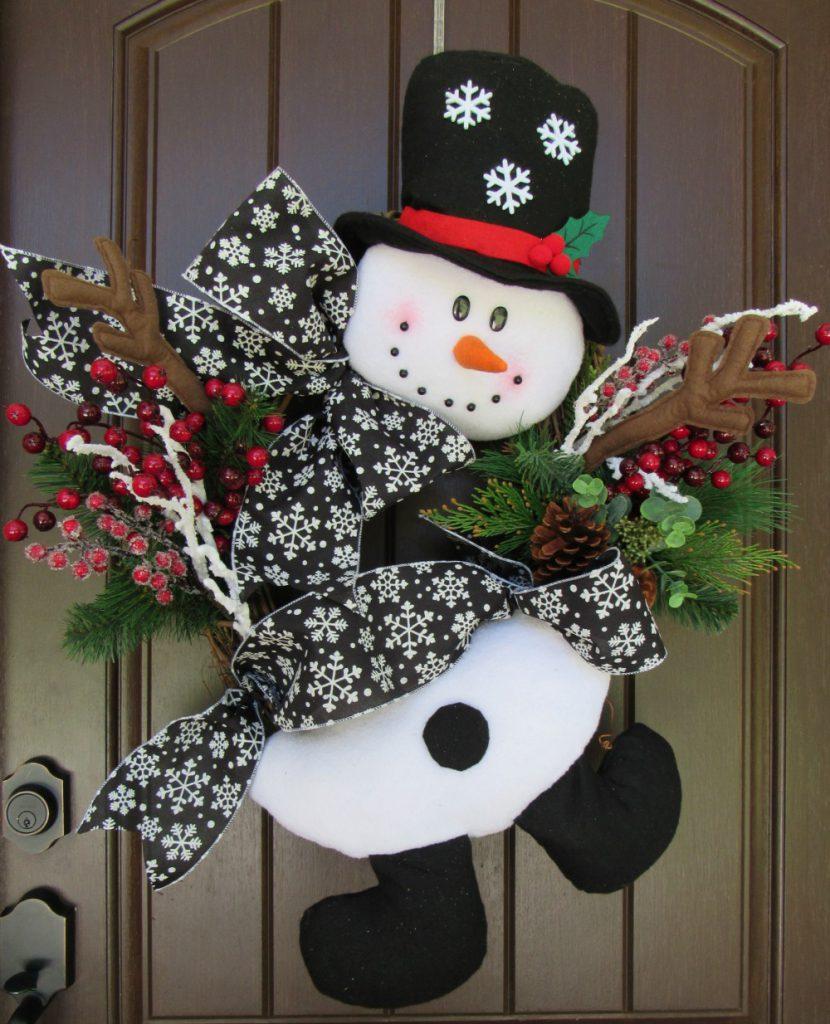 Как сделать снеговика на дверь
