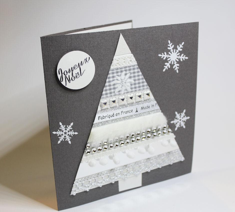 Новогодняя открытка с белой елочкой