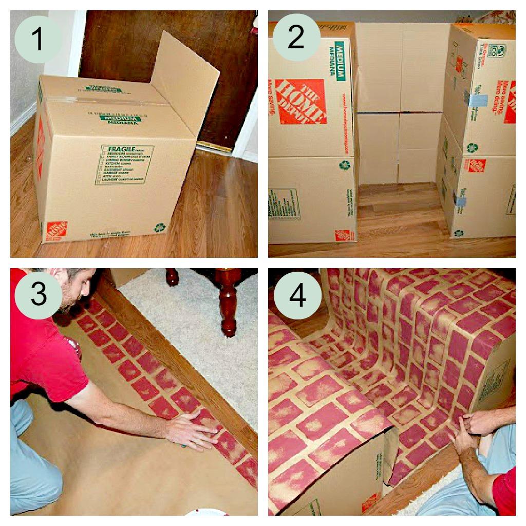 Новогодний камин из коробки инструкция