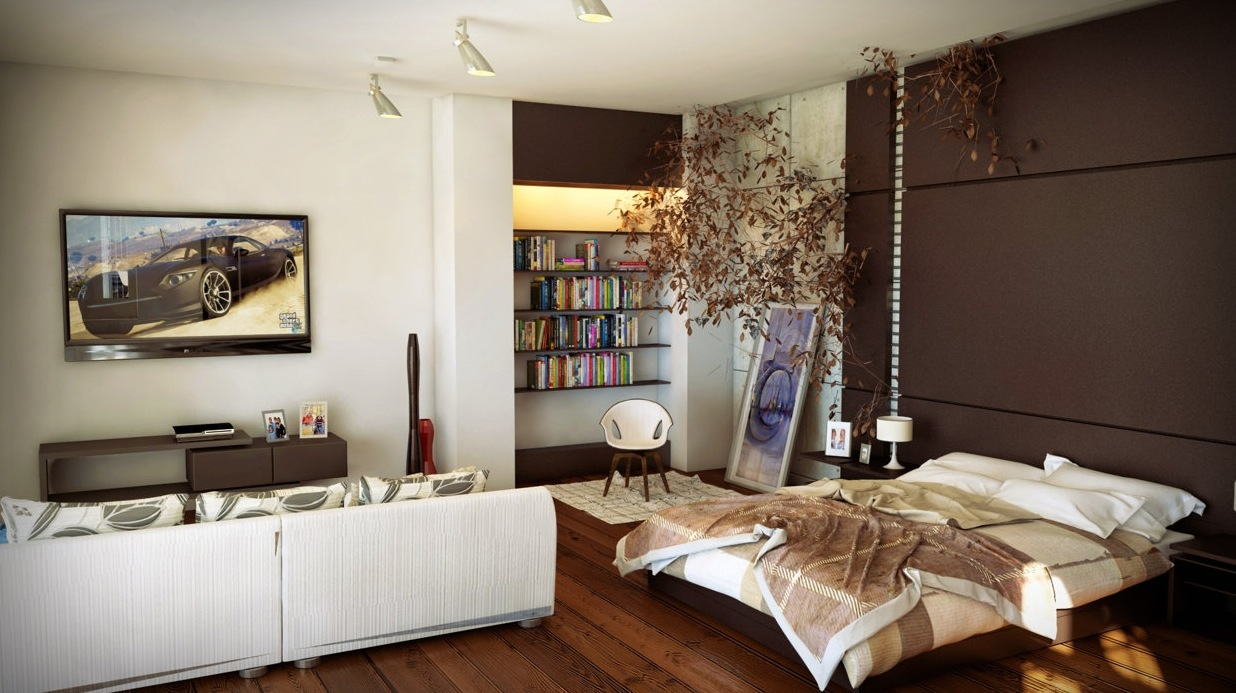 Коричневый интерьер однокомнатной квартиры