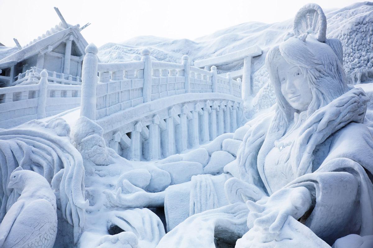 Снежная горка красивая