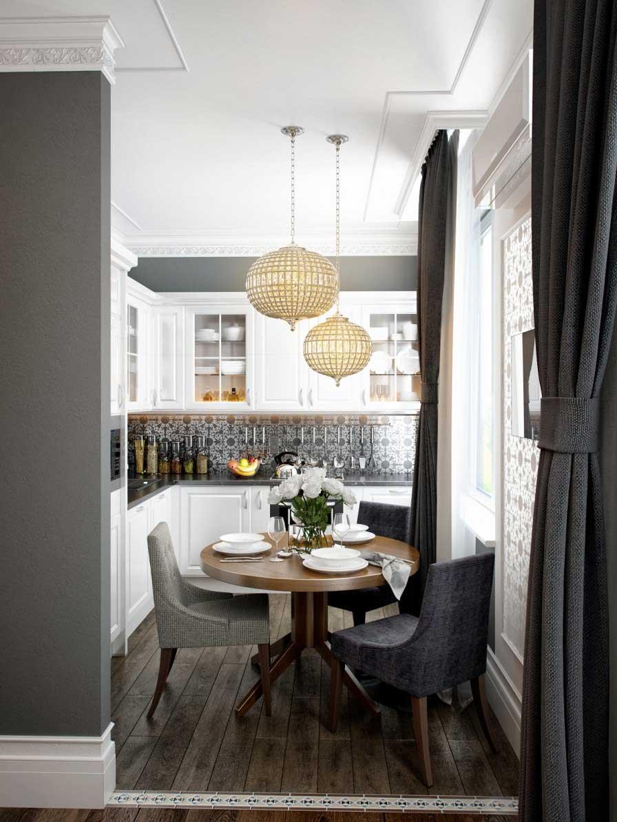 Кухня 6 кв м с круглым столом