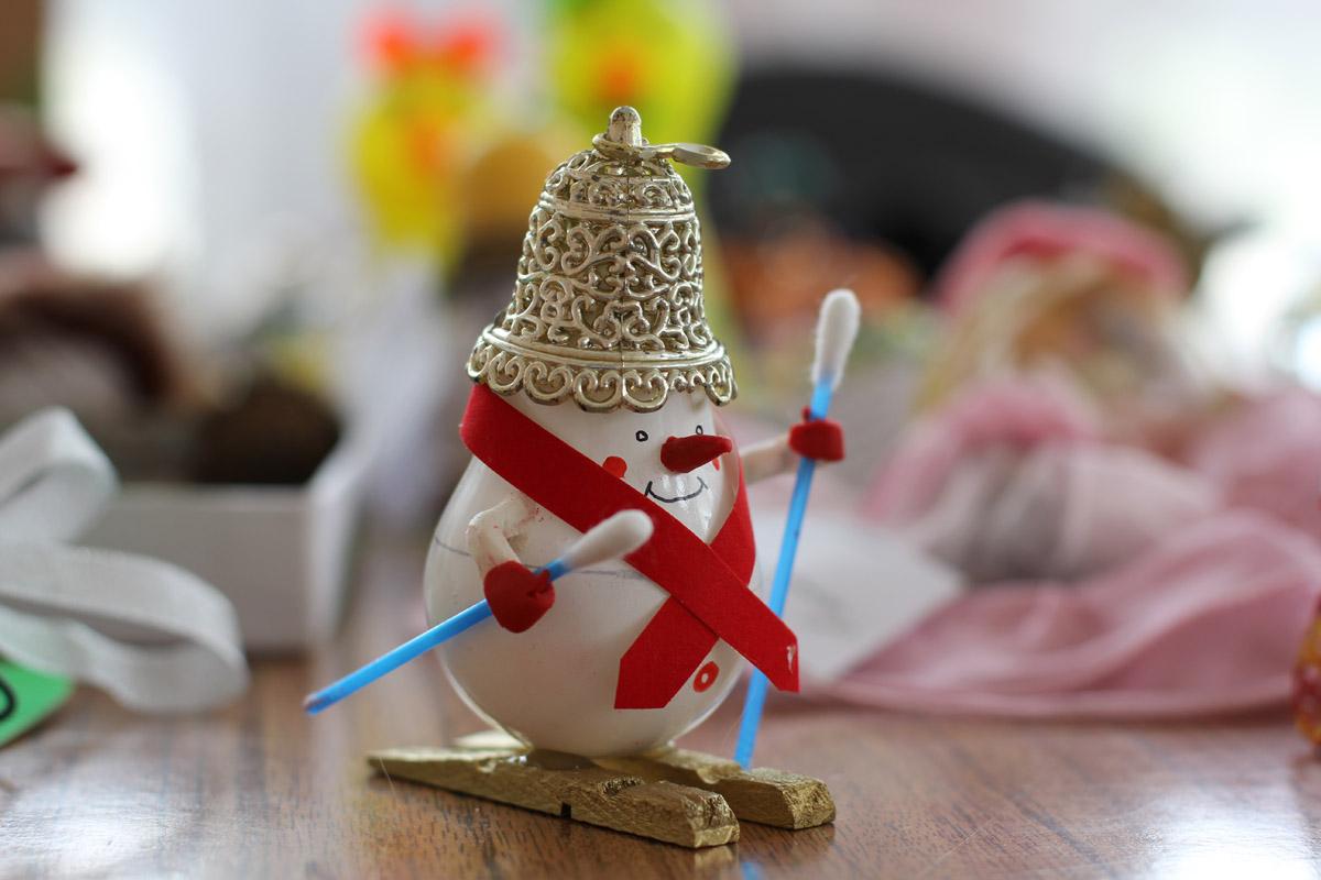 Как сделать снеговика из лампочки