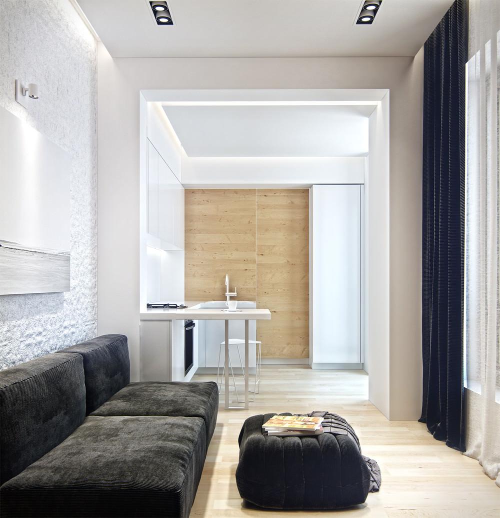 Идеи для однокомнатной квартиры в монохромном дизайне
