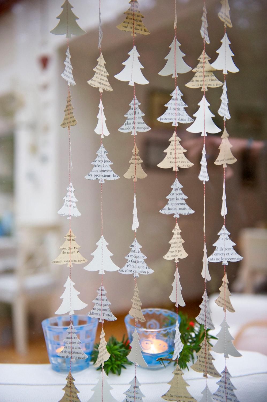 Гирлянда из бумажных елочек на новый год