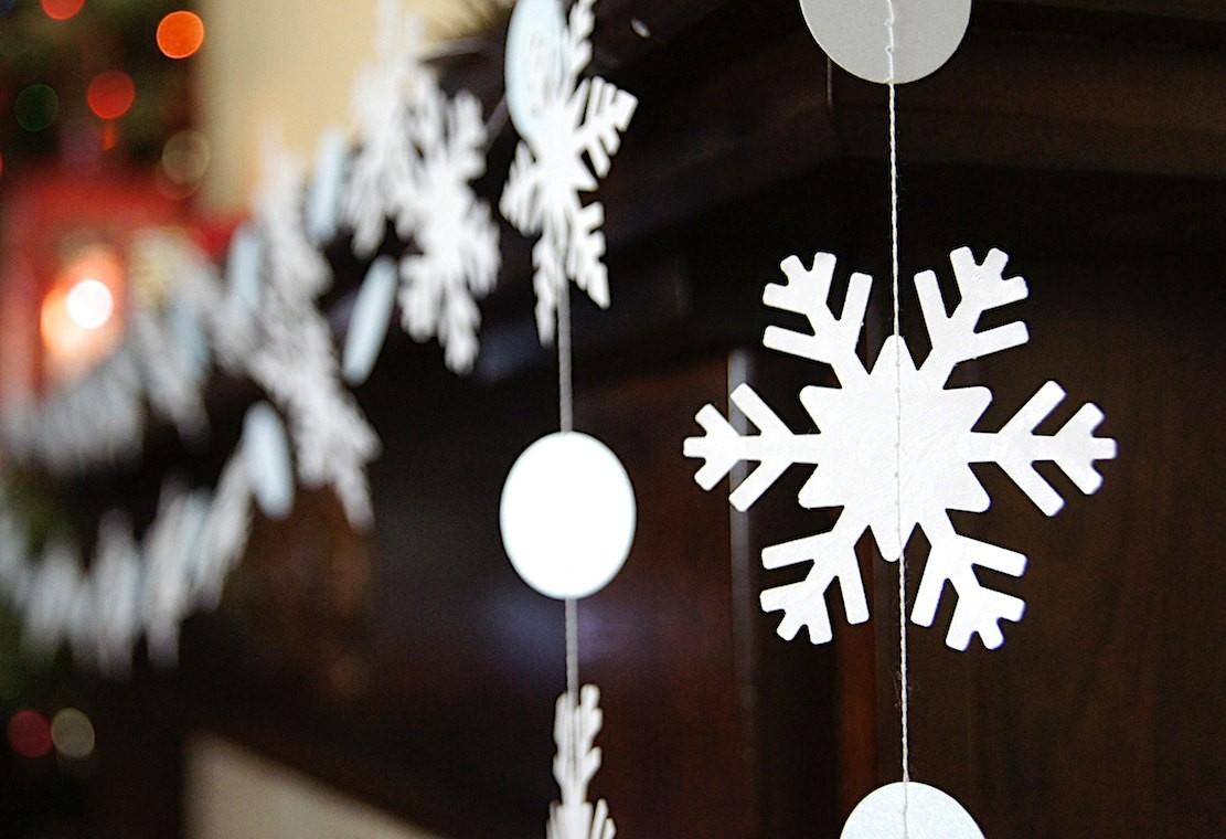 Снежинки из бумаги подвесные
