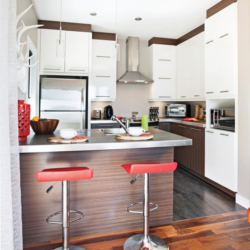 Кухня 6 кв м с барной стойкой