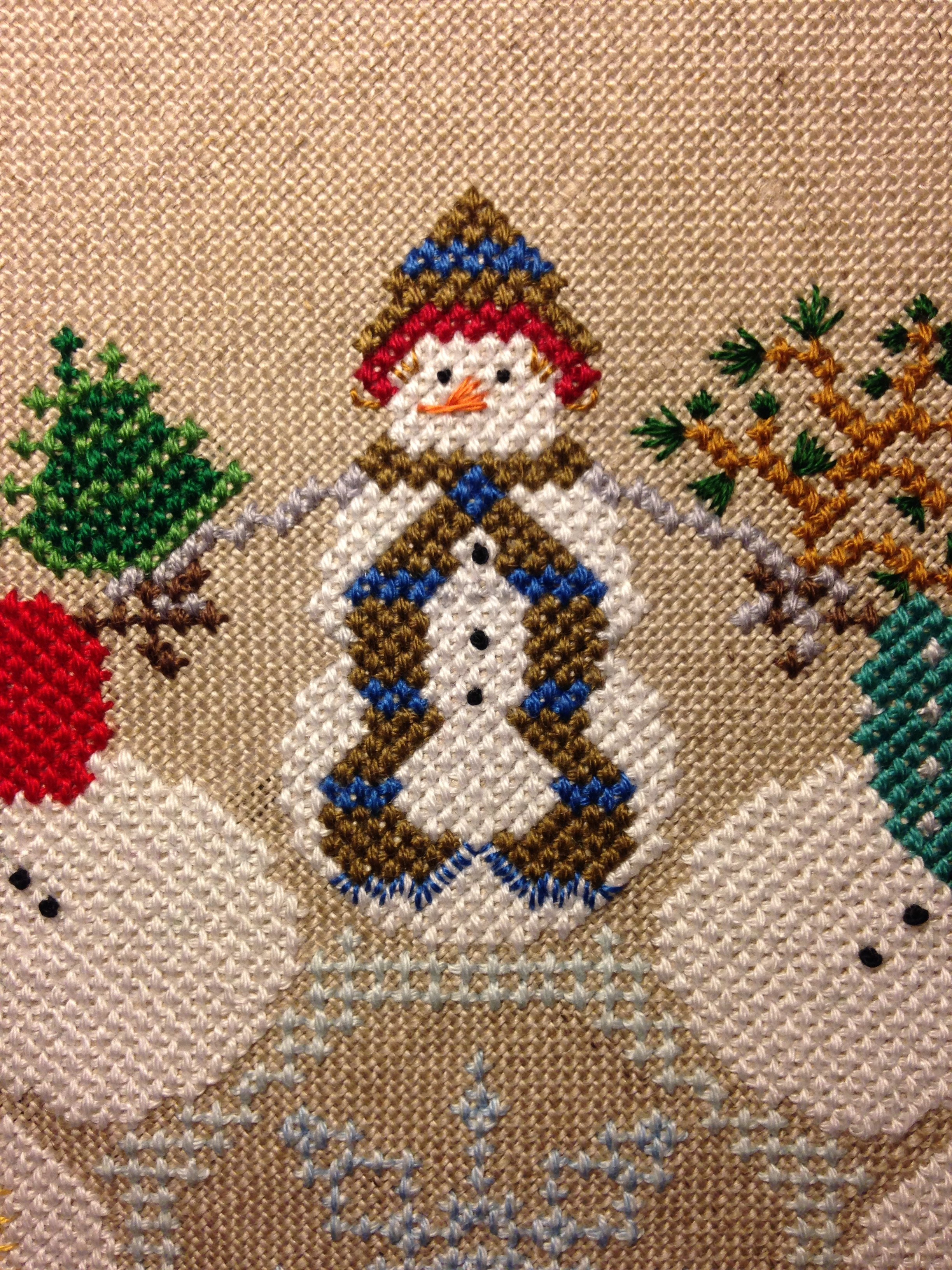Снеговик вышивка