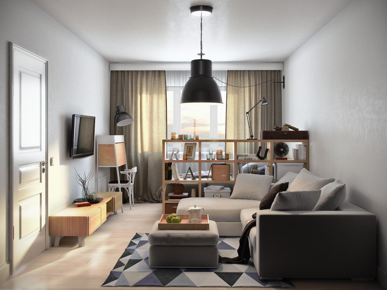 Дизайн зала однокомнатной хрущевки