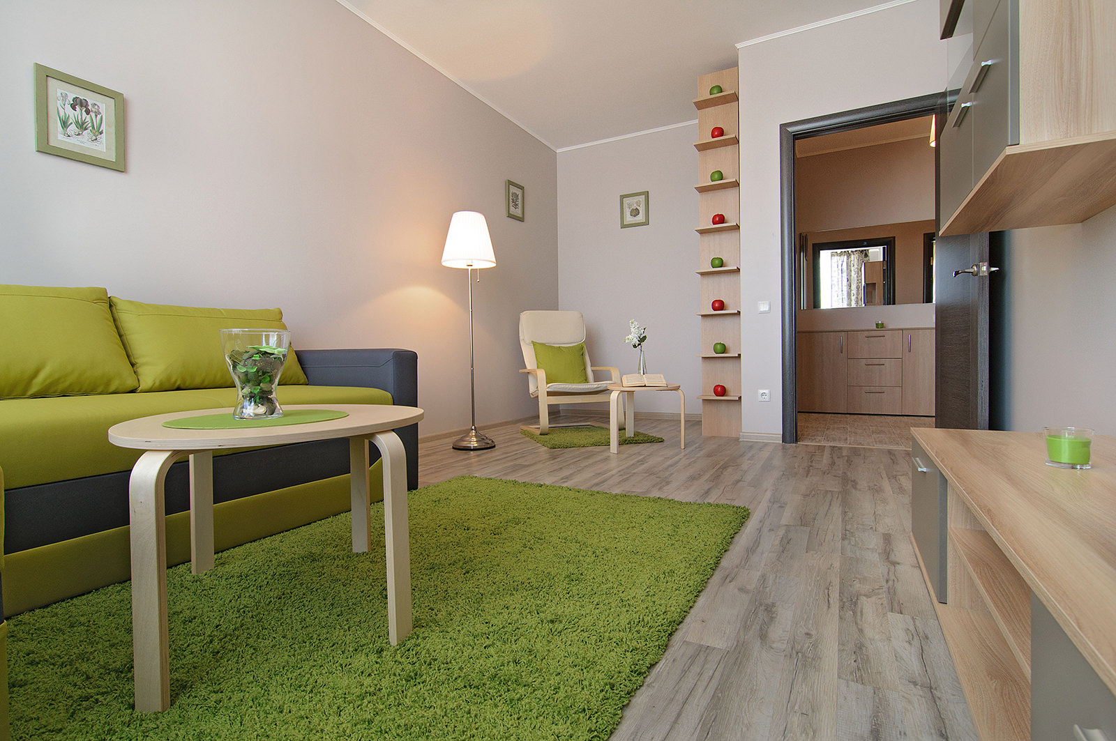 Однокомнатная квартира в зеленом цвете
