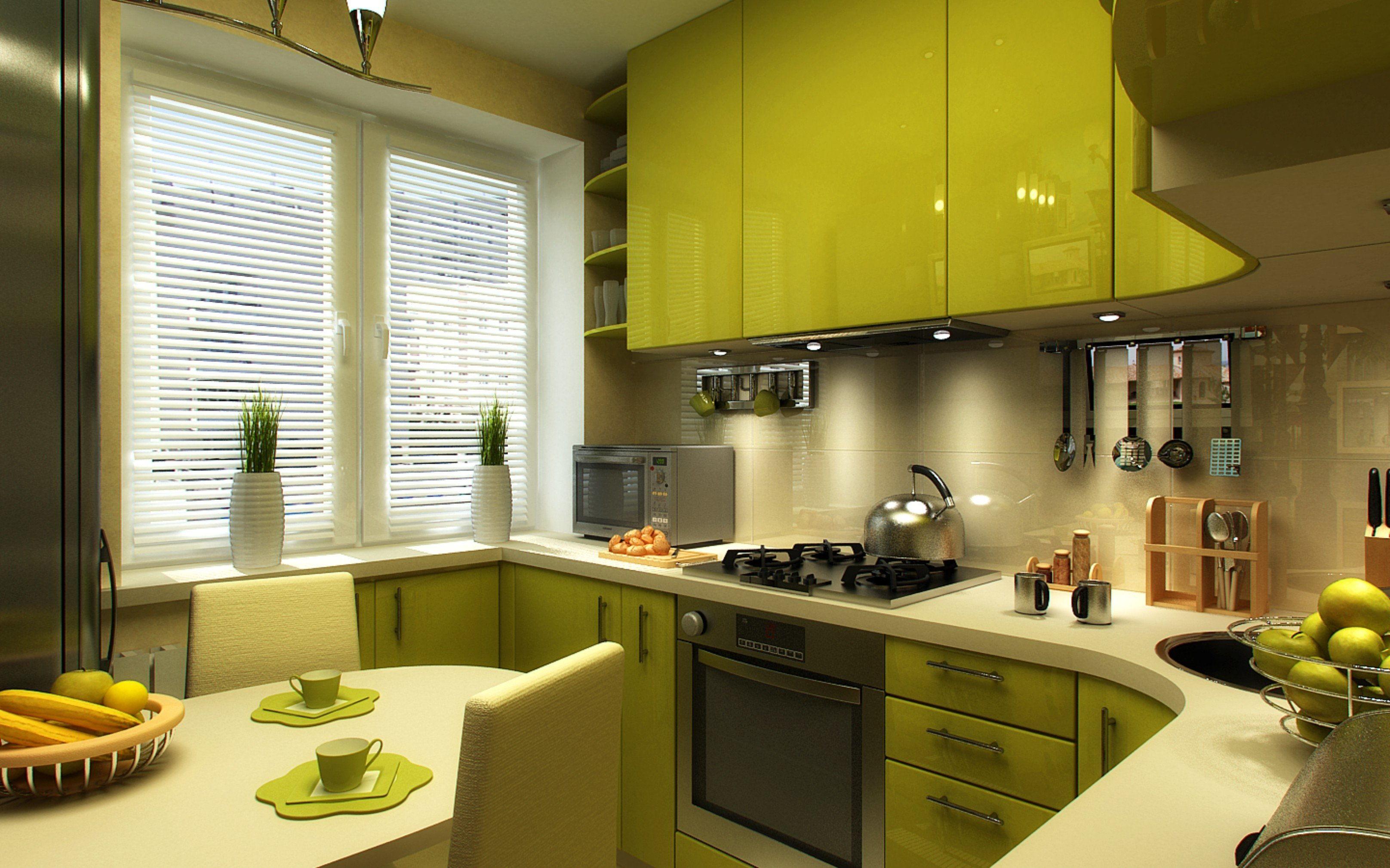 Кухня 6 кв м зеленая