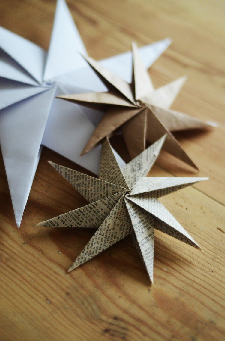 Звезды из бумаги на новый год