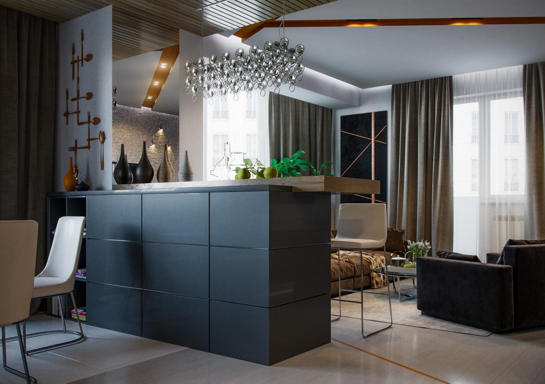 Интерьер квартиры студии с барной стойкой