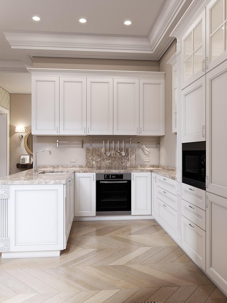 Кухня 9 кв м бежевая